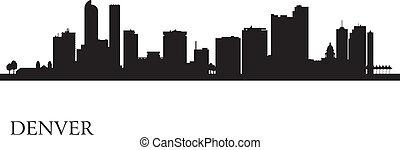 都市 スカイライン, シルエット, デンバー, 背景