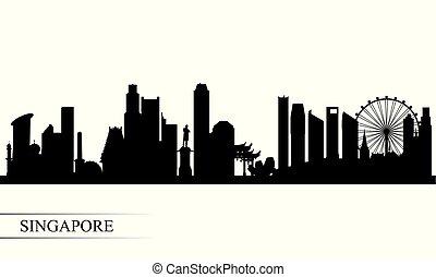 都市 スカイライン, シルエット, 背景, シンガポール