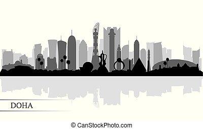 都市 スカイライン, シルエット, doha, 背景