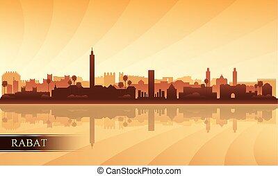都市 スカイライン, シルエット, rabat, 背景