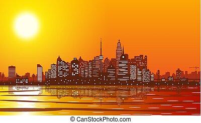 都市 スカイライン, シルエット, sunset.