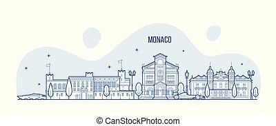 都市 スカイライン, ベクトル, 建物, モナコ