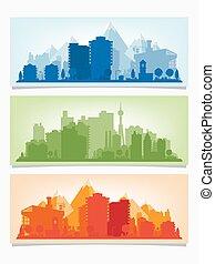 都市 スカイライン, ベクトル, cityscape., 旗, 横