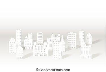 都市 スカイライン, ペーパー, イラスト, 3d