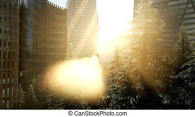 都市 スカイライン, ロンドン, 日没