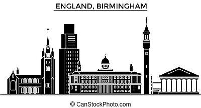 都市 スカイライン, 建物, 旅行, 光景, イギリス\, 隔離された, ベクトル, バーミンガム, 建築, 背景, ...