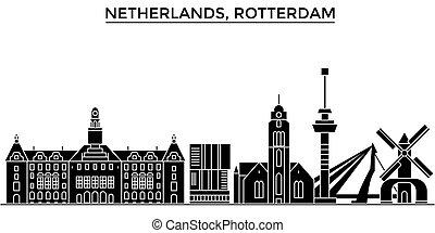 都市 スカイライン, 建物, 旅行, 光景, 隔離された, ランドマーク, netherlands, ベクトル, 建築, 背景, 都市の景観, rotterdam