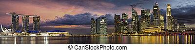 都市 スカイライン, 日没, パノラマ, シンガポール