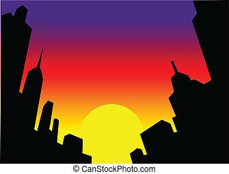 都市 スカイライン, 日没, 背景