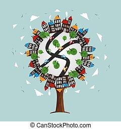 都市 スカイライン, 木の景色, 家