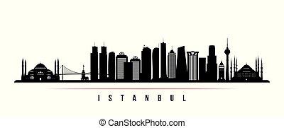 都市 スカイライン, 横, イスタンブール, banner.
