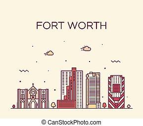 都市 スカイライン, 線である, アメリカ, ベクトル, テキサス, 価値, 城砦