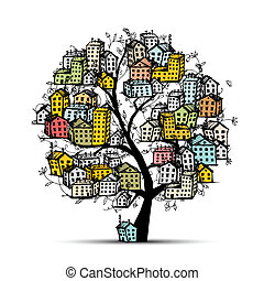 都市, スケッチ, デザイン, あなたの, 木