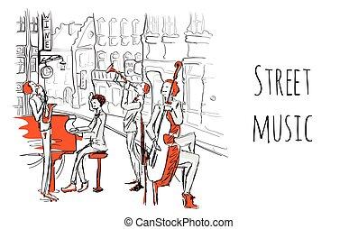 都市, スケッチ, プレーする, musicians., ジャズ, 通り, イラスト, style., バンド, ベクトル, 通り。, ミュージカル, 四つ組