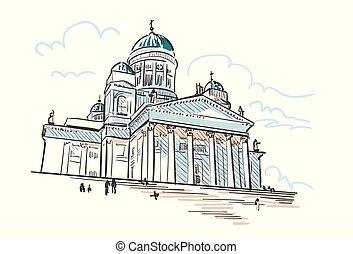 都市, スケッチ, ヘルシンキ, イラスト, ベクトル, 大聖堂, ヨーロッパ