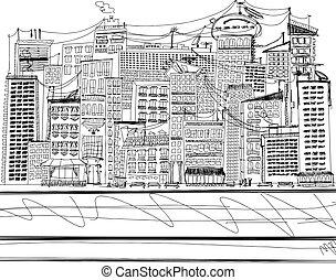 都市, スケッチ, ベクトル, 背景