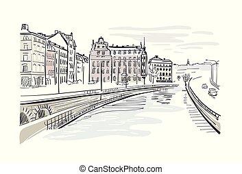 都市, スケッチ, 中心, イラスト, スウェーデン, ベクトル, ストックホルム, ヨーロッパ