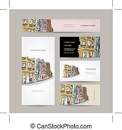 都市, スケッチ, 古い, ビジネス, 通り, デザイン, カード