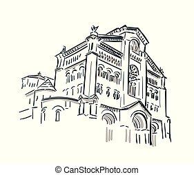 都市, スケッチ, 芸術, モナコ, ベクトル, 教会, 線
