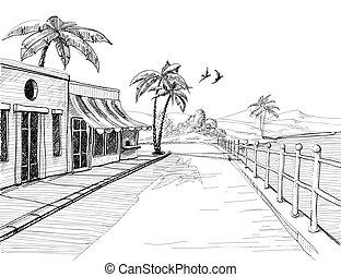 都市, スケッチ, 静寂, 海岸, 通り, 海, 小さい, 光景