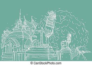 都市, スケッチ, prasat, 図画, ライオン, scape, タイ, 彫刻, 寺院