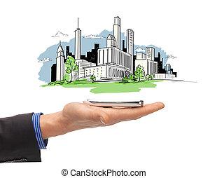 都市, スケッチ, smartphone, の上, 手, 終わり, 人