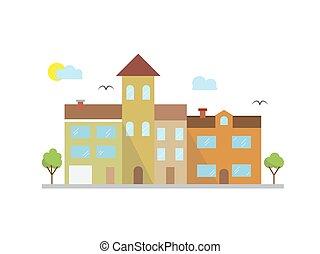 都市, スタイル, グラフィック, 雲, 線である, -, 建物, イラスト, ベクトル, デザイン, テンプレート, 線, 風景