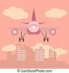都市, スタイル, 平ら, 大きい, シルエット, イラスト, 飛行機, 前部