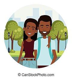 都市, スタイル, 恋人, 若い, 通り, アフリカ