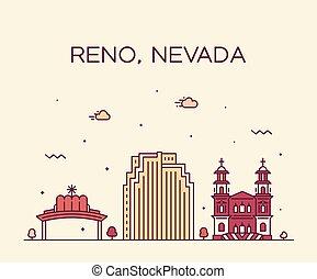 都市, スタイル, 線である, アメリカ, reno, スカイライン, ベクトル, ネバダ