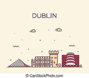 都市, スタイル, 線である, ダブリン, ベクトル, アイルランド, スカイライン