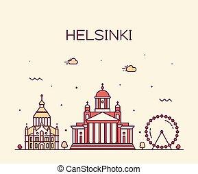 都市, スタイル, 線である, ヘルシンキ, フィンランド, スカイライン, ベクトル