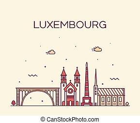 都市, スタイル, 線である, ルクセンブルク, スカイライン, ベクトル, 最新流行である