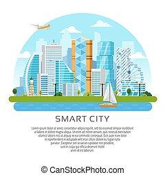 都市, スタイル, 超高層ビル, ベクトル, ラウンド, 風景