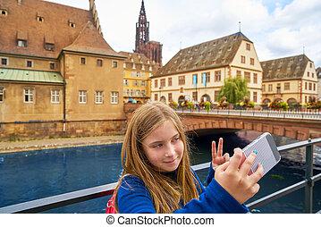都市, ストラスブール, 写真, selfie, フランス, アルザス, 子供
