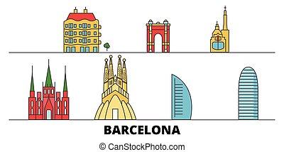 都市, スペイン, illustration., 平ら, ランドマーク, バルセロナ, 有名, ベクトル, 光景, 線, スカイライン, 旅行, design.