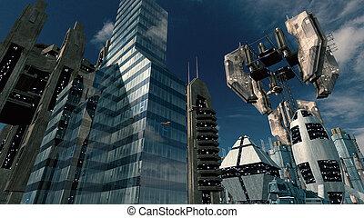 都市, スペース, レンダリング, scifi, station., 未来派, 3d
