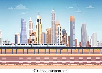 都市, スペース, 上に, 光景, スカイライン, 超高層ビル, 背景, 都市の景観, コピー, 地下鉄
