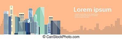 都市, スペース, 大きい, 現代, スカイライン, 都市の景観, コピー, 旗, 光景