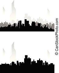 都市, セット, シルエット