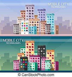 都市, セット, モビール, 旗, 横, 技術