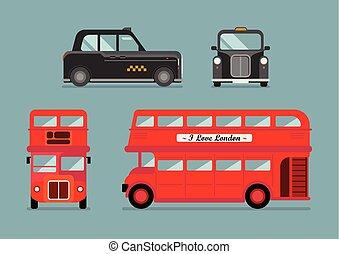都市, セット, ロンドン, タクシー, バス