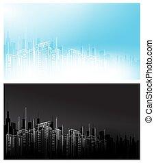 都市, セット, 地平線, ライト, 現代, 空の スクレーパー, 暗い, ベクトル, 黒い背景, 夜, 白, 日, 風景