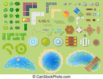都市, セット, 庭, 公園用地, 緑公園, 隔離された, 木, ベクトル, 噴水, イラスト, 背景, 都市の景観, 池, パークウェイ, ∥あるいは∥, 風景