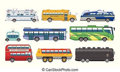 都市, セット, 警察, 輸送可能である, 乗客, バス, schoolbus, 隔離された, イラスト, ∥あるいは∥, 旅行, ベクトル, 輸送, 背景, 車, 交通機関, 白, 公共の輸送, 自動車