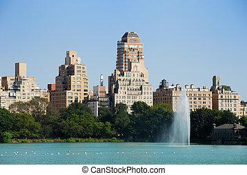 都市, セントラル・パーク, 噴水, ヨーク, 新しい
