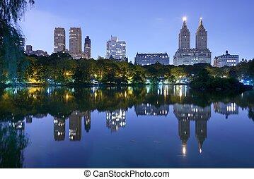 都市, セントラル・パーク, 湖, ヨーク, 新しい