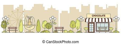 都市, セントラル・パーク, lineout, 横, 公衆, 風景