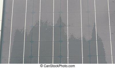 都市, セービング, エネルギー, 曇り, 環境, 通り, protection., 太陽, weather., パネル