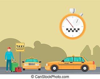 都市, タクシー, 交通機関, サービス